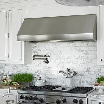 Marble Subway Tile, Transitional, kitchen, Diana Sawicki Interior Design