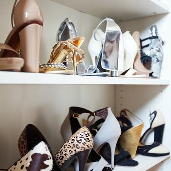 Shoe Shelves, Contemporary, closet, The Glitter Guide