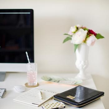 White Lacquer Desk, Contemporary, den/library/office, The Glitter Guide