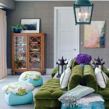 Green Velvet Sofa- Eclectic, living room, Tilton Fenwick