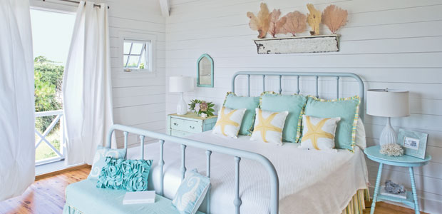 Via Tumblr Beachy Bedroom With Iron Bed Painted Blue Shams Yellow Trim Turquoise Round Tables Nightstands Skirted Bench Groove Walls
