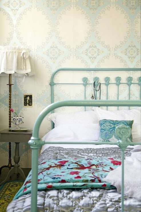 Turquoise Bed Cottage Bedroom