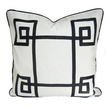 White & Black Fancy Greek Key Pillow