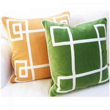 Orange Fancy Greek Key Pillow