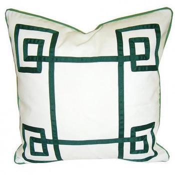 White & Green Fancy Greek Key Pillow
