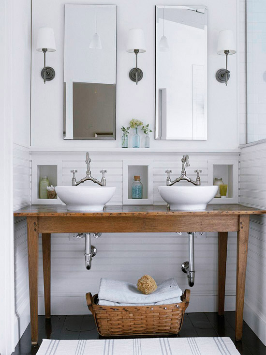 Repurposed bathroom vanity design decor photos pictures ideas inspiration paint colors - Small cottage style bathroom vanity design ...