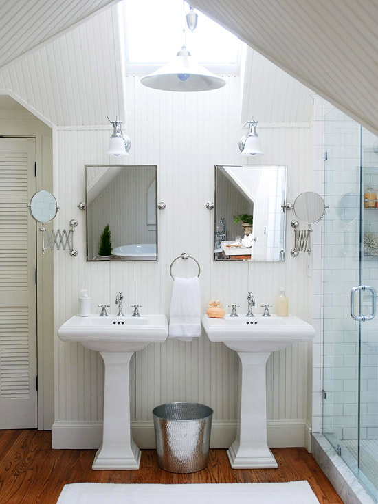bathrooms white beadboard walls ceiling glossy white twin pedestal