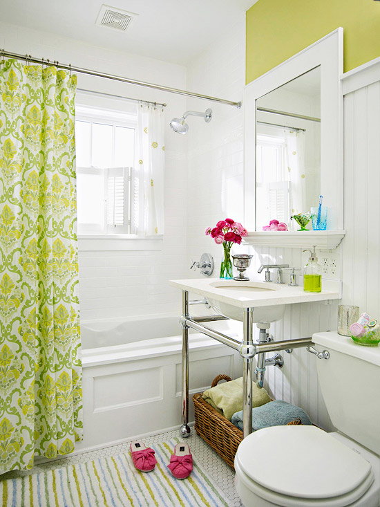 White beadboard bathroom transitional bathroom bhg for Bright yellow bathroom ideas