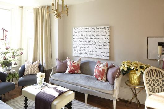 Gray Velvet Settee Contemporary Living Room Meredith