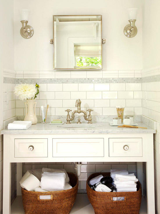 Subway tile backsplash cottage bathroom bhg for Bathroom ideas using subway tile