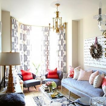 Gray French Settee, Contemporary, living room, Meredith Heron Design