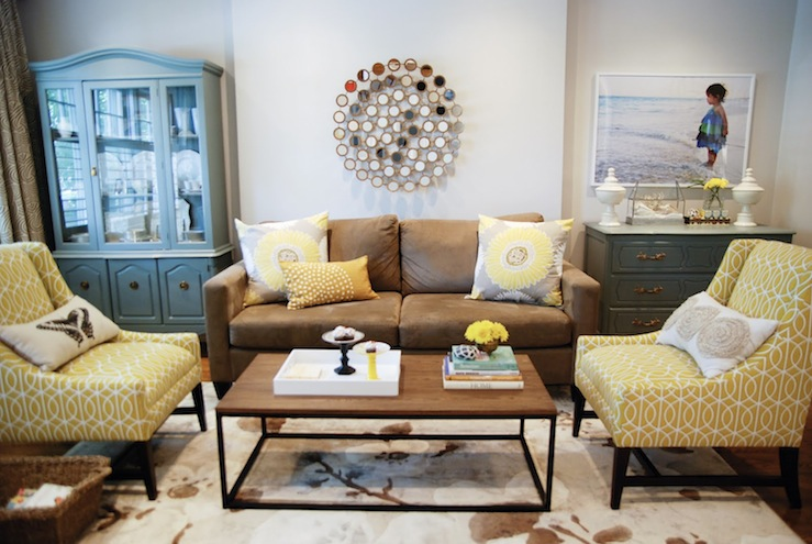 Yellow and brown living room transitional living room for Pier 1 living room ideas