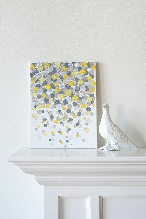 11x14 Canvas Painting Confetti Yellow Grey By Luluanddrew