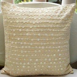 Embroidered Scroll on Natural Linen Pillow | Pillows | Ethan Allen