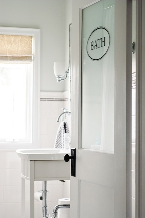 Frosted Glass Door Transitional Bathroom Restoration