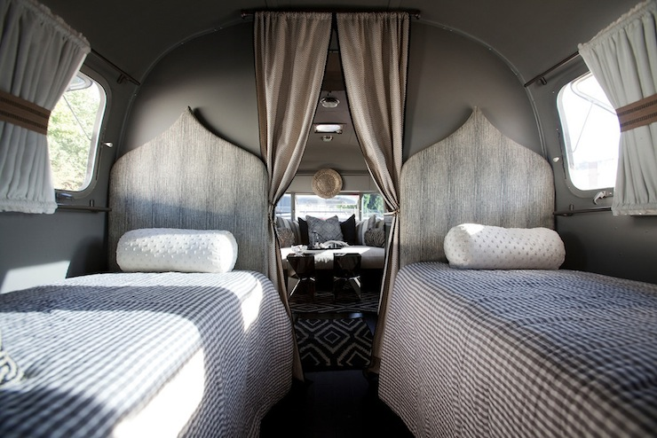 Gray bedroom mediterranean bedroom airstream - Trailer bedroom ideas ...