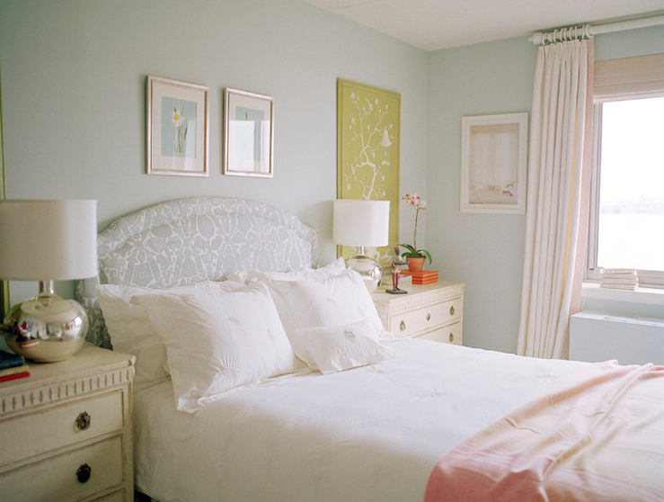 gray damssk headboard - traditional - girl's room - sara gilbane