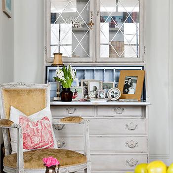 Gray Secretary Desk, French, living room, Ralph Lauren Tudric Pewter, Karina Gentinetta
