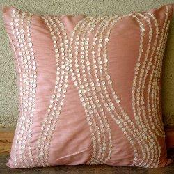 Angelic Charm, Decorative Pillow Covers, Silk Pillow Cover with Mother Of Pearl, TheHomeCentric