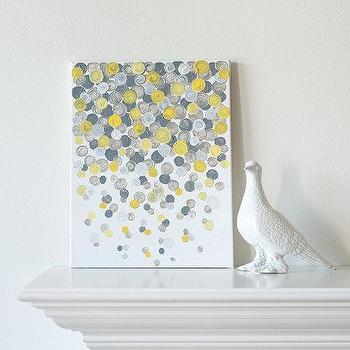11x14 Canvas Painting Confetti Yellow & Grey by luluanddrew