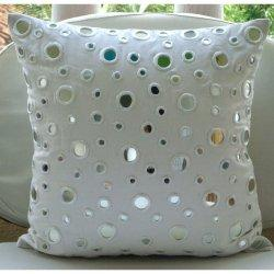 White Mirrors, Decorative Pillow Covers, Cotton Canvas with Mirror Embroidery, TheHomeCentric