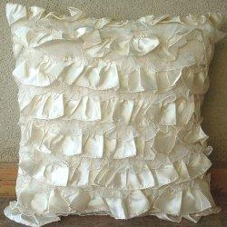 Vintage Heaven, Throw Pillow Covers, Satin Pillow Cover with Net Ruffles, TheHomeCentric
