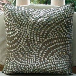11% Holiday Sale, Pearl Nostalgia, Decorative Pillow Covers, Silk Pillow Cover with Silver Mother of Pearls, TheHomeCentric