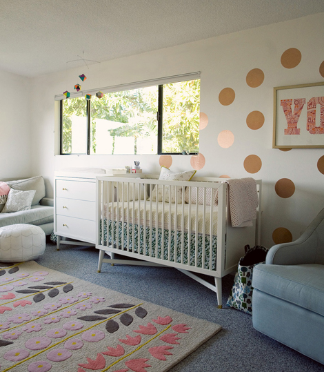 Dwellstudio Mid Century Crib Eclectic Nursery Oh Joy