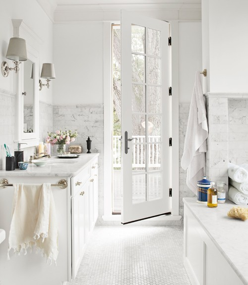 White and gray bathroom transitional bathroom for All white bathrooms ideas