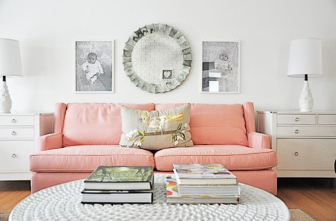 Pink Sofa Contemporary Living Room I Suwannee