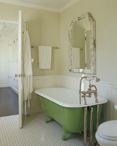 Lovely Vintage Kitchen Design With Green Claw Foot Tub Chair Rail And Beadboard And Butter Yellow Walls Paint Color