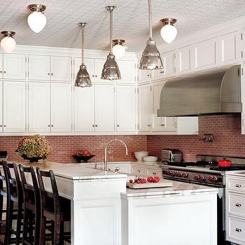 Pink Linear Glass Tiles Backsplash Design Ideas