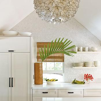White Iridescent Tile, Cottage, kitchen, Country Living