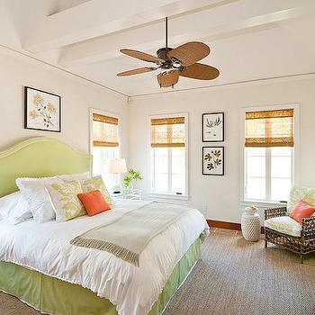 Green Headboard, Cottage, bedroom, Elizabeth Newman Interior Design