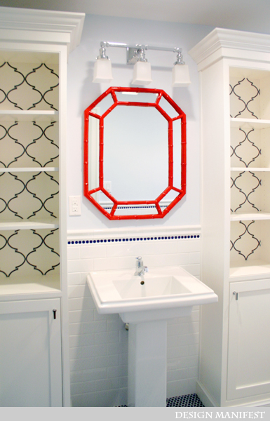 Stunning Boys Bedroom With Glossy Red Faux Bamboo Octagon Mirror Visual Comfort Lighting Boston Square 3 Light Sconce Pale Blue Walls Paint Color