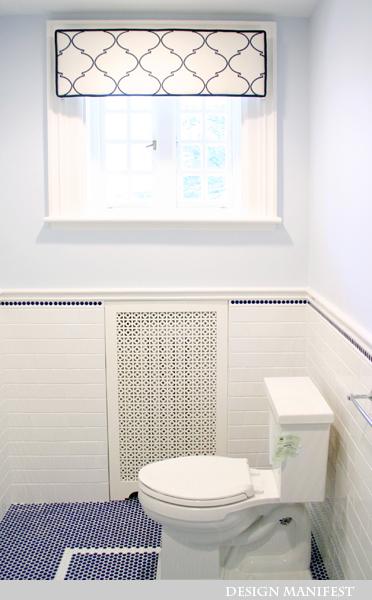 Navy Penny Tiles Contemporary Bathroom Design Manifest