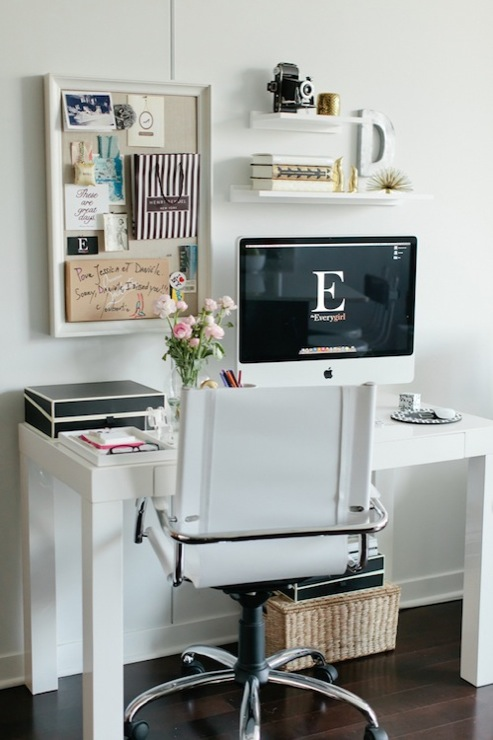Chic Office Nook With West Elm Parsons Desk In Polished White Swivel Leather Chair Pottery Barn Pinboard Savannah Lidded