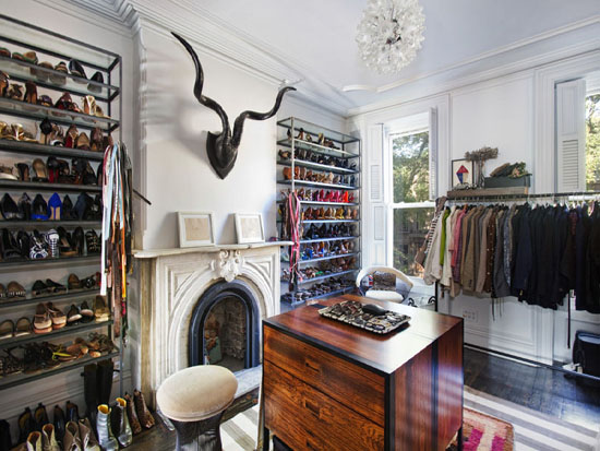Jenna Lyons Bedroom Converted Into Walk In Closet! Gray Walls Paint Color,  Glass Shoe Shelves Flanking Limestone Fireplace, Black Resin Ram Head And  Glass ...