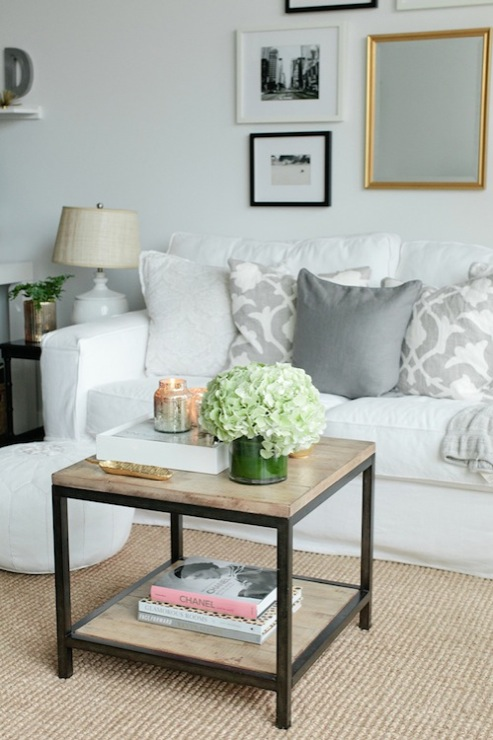 Pottery Barn Slipcovered Sofa Contemporary Living Room