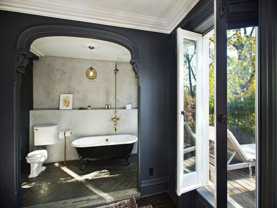 Brass Clawfoot Tub Shower Kit. Bathing Alcove  Eclectic bathroom
