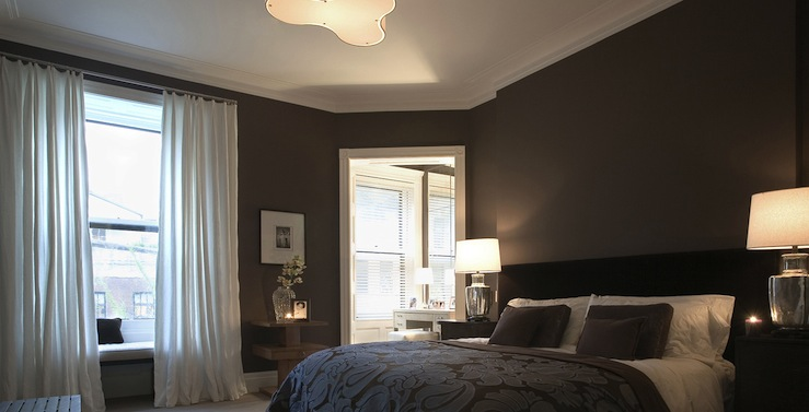 Luxurious Chocolate Brown Bedroom With Chocolate Brown Walls Paint Color,  Black Headboard, Brown U0026 Purple Blanket Bedspread U0026 Pillows, Mercury Glass  Lamps ...
