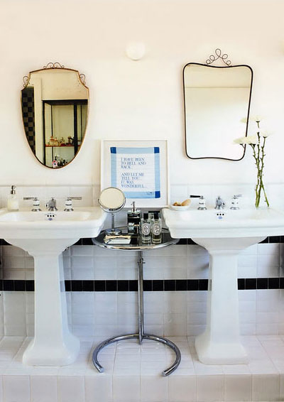 His And Hers Bathroom Sink. Via Livinggazette Com Lovely Bathroom For 2 With Glossy White Pedestal Sinks Eileen Gray Table And Mismatched Mirrors His And Her Sinks