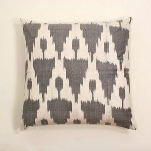 Gray Ikat Silk Pillow