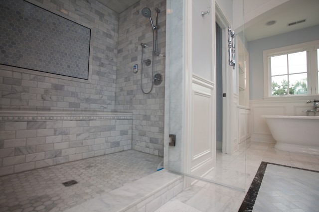 Calcutta gold marble subway tile contemporary bathroom cloud8 - Tile shower surround ideas ...