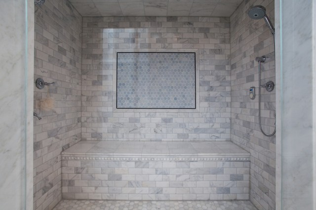 Calcutta Gold Marble Subway Tile Contemporary Bathroom