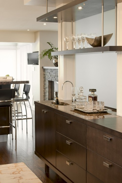 Dark Brown Kitchen Cabinets Contemporary Kitchen Leslie Goodwin