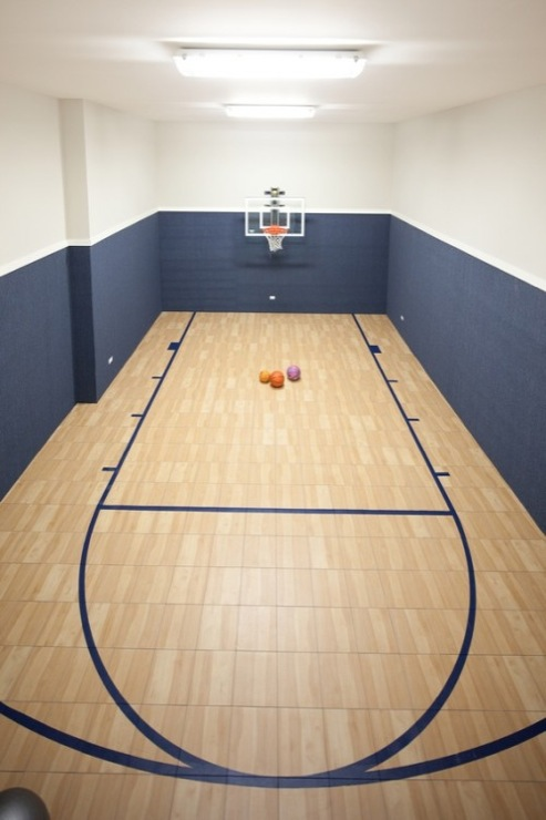 Attice basketball court transitional boy 39 s room for Indoor basketball court installation
