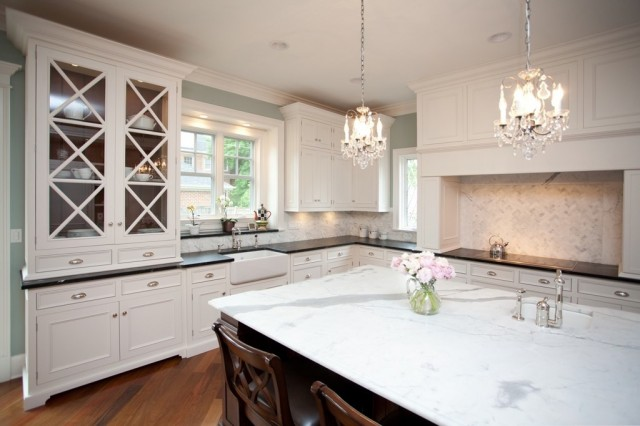 White Soapstone Countertops : Soapstone kitchen island transitional