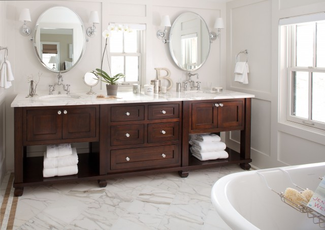 Walnut Stained Double Bathroom Vanity With Calcutta Gold Marble Countertops Restoration Hardware Oval Pivot Mirrors Robert Abbey Muse