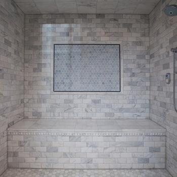 Calcutta Gold Marble Subway Tile Contemporary Bathroom